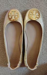 Tory Burch Gold Mettalic Minnie Ballet Flats